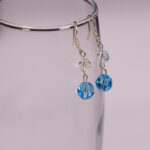 Aqua Marine Sarovski Crystal Sterling Silver Earrings