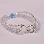 Sterling Silver Aqua Marine and Clear crystal bracelet (close up of clasp)